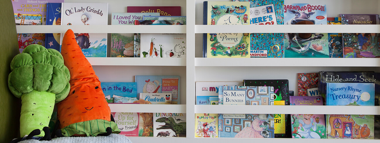 Bookshelf with kids books